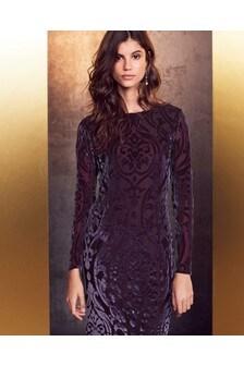 Devoré Long Sleeve Dress