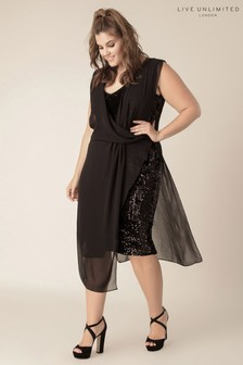 Live Unlimited Black Chiffon Draped Overlayer Sequin Dress