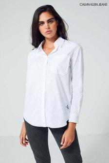 Белая свободная рубашка из хлопчатобумажного поплина Calvin Klein Jeans