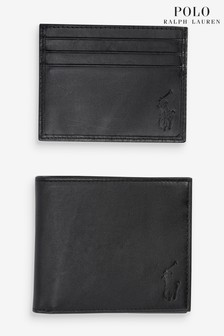 Polo Ralph Lauren Black Smooth Leather Wallet Gift Set