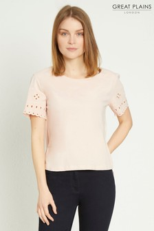 Great Plains Pink Bali Embroidery Round Neck Top