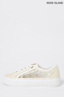 River Island Beige Mesh Monogram Lace-Up Shoes