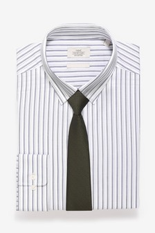 Stripe Slim Fit Shirt And Olive Tie Set