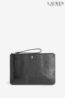 Ralph Lauren Black Moc Croc Wristlet Clutch Bag