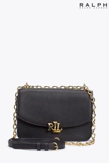 Кожаная сумка с длинным ремешком и монограммой Ralph Lauren Madison