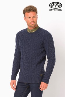 Animal Dark Navy Marl Cable Knit Jumper