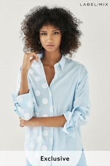 Next/Mix Polka Dot Print Stripe Shirt