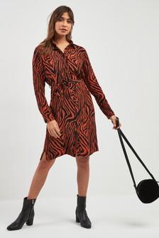 Sukienka koszulowa z nadrukiem pasków zebry