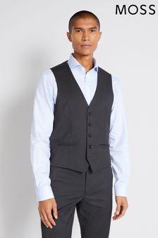 Moss London Skinny Fit Charcoal Stretch Waistcoat