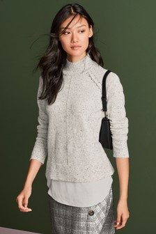 Woven Hem Layer Top