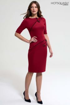 HotSquash Red Richmond Button Ponte Dress