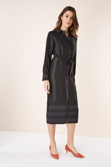 Satin Stripe Shirt Dress