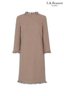 L.K.Bennett Pink Conilia Multi Fun Tweed Dress