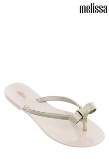 Melissa Ivory Gold Chrome Bow Flip Flop