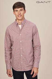 GANT Red Poplin Gingham Check Regular Fit Shirt