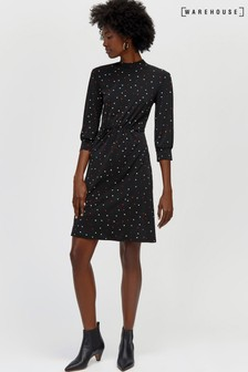 Warehouse Black Spot Print Short Dress a951c5f66