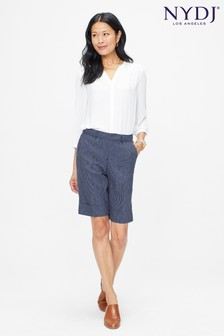 NYDJ Blue Stripe Stretch Linen Bermuda Short