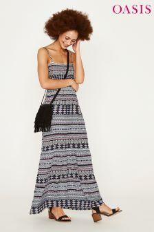 Oasis Black Amboselli Tiered Maxi Dress