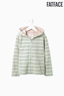 FatFace Green Pique Stripe Zip Through Hoody