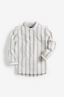 Long Sleeve Stripe Grandad Neck Shirt (3mths-7yrs)