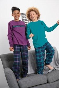 2 Pack Slogan Check Woven Pyjamas (3-16yrs)