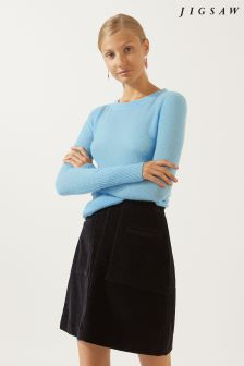 Jigsaw Blue Cloud Cashmere Crew