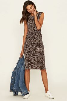 Oasis Natural Animal Drape Dress
