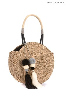Mint Velvet Natural Skye Round Straw Shopper