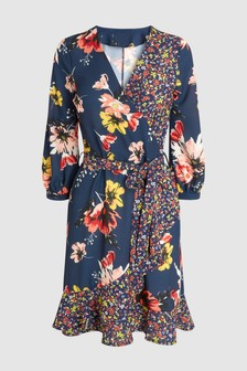 Floral Mixed Print Wrap Dress