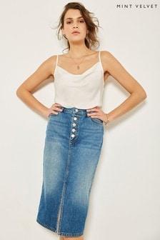 Mint Velvet Indigo Denim Split Front Skirt