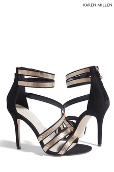 Karen Millen Black Strappy Chain Mail Sandal