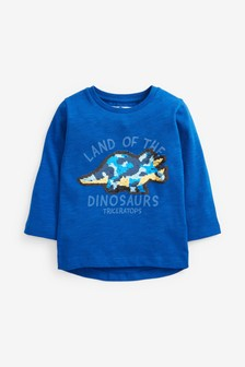Long Sleeve Dino Flippy Sequin T-Shirt (9mths-7yrs)