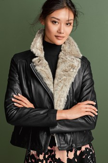 Faux Fur Lined Leather Jacket