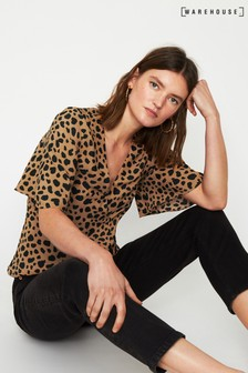 Warehouse Tan Animal Print Side Button Top