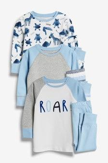 Pack de tres pijamas cómodos con elefante (9 meses-8 años)