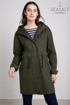 Seasalt Green Woodland Polperro 3 Season Coat