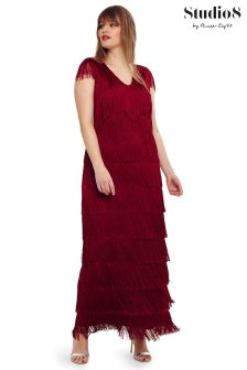 Studio 8 Red Esmerelda Fringe Maxi Dress