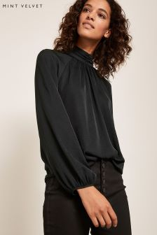 Mint Velvet Black High Neck Top