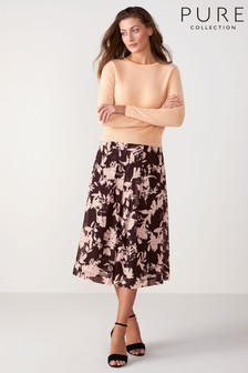 Pure Collection Purple Soft Pleat Skirt
