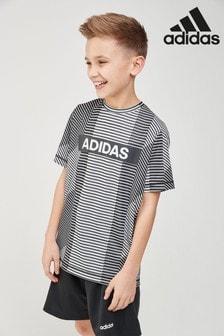 adidas White/Black Logo Tee