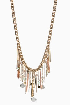 Shell, Bead And Chain Drop Short Necklace