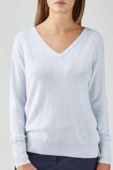 Pure Collection Blue Toccato Raglan Sweater