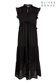 Oliver Bonas Black Fancy Lace Midi Dress