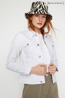 Warehouse White Fitted Denim Jacket