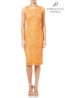 Adrianna Pappel Orange Crochet Lace Sheath Dress