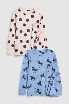 מארז שתי פיג'מות מבד נעים בדוגמת חד קרן ונקודות (גילאי 3 עד 16)