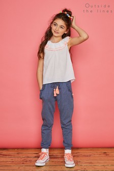 Outside The Lines Blue Frill Trim Jogger