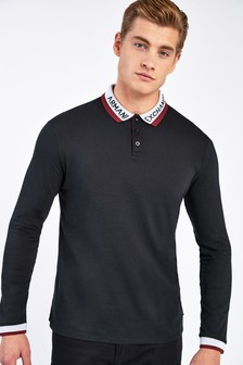 Armani Exchange Black Logo Collar Poloshirt