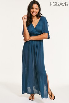 Figleaves Blue Sarasota Woven Split Sleeve Maxi Dress
