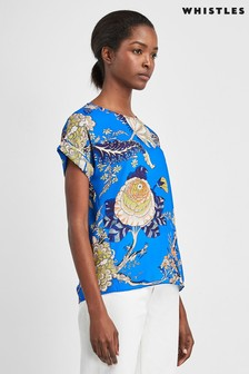 Whistles Blue Exotic Floral Shell Top